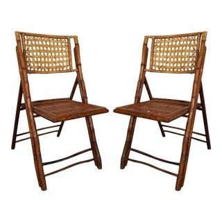 Rattan & Bamboo Folding Chairs - A Pair