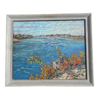 """Original Impressionist Vintage Oil On Canvas-Signed/Dated 1955-""""St. Lawrence River"""""""