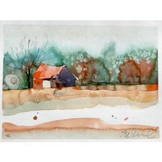 Original La Center Autumn Landscape Watercolor Painting
