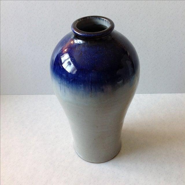 Studio Pottery Grey & Cobalt Blue Vase - Image 8 of 11