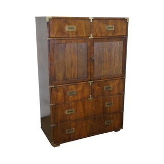 Henredon Walnut Campaign Style Gentlemans Tall Chest