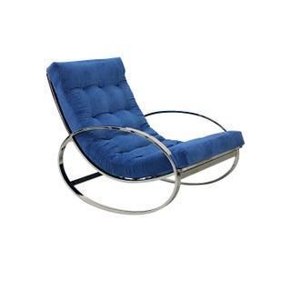 Mid-Century Italian Chrome Rocking Chair - Blue