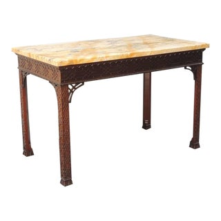 18th C English Chinese Chippendale Mahogany and Marble Slab Table
