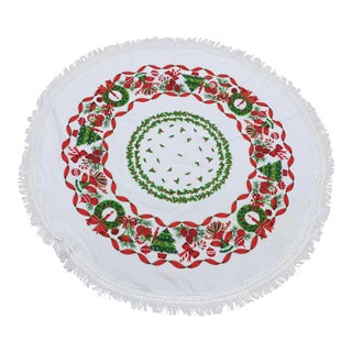 Vintage Mid-Century Round Christmas Holly, Wreath and Ornament Motif Tablecloth