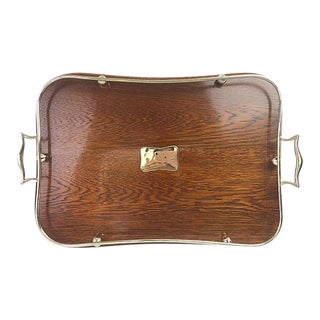 English Oak and Silverplate Gallery Tray