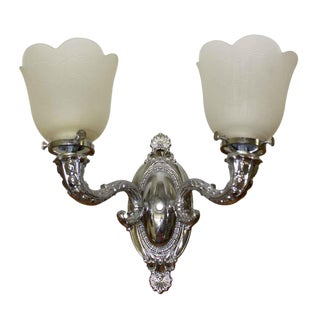 Plaza Hotel New York Nickel Over Brass Sconce