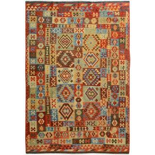 Arya Jasper Red/Gold Wool Kilim Rug - 6'7 X 9'8