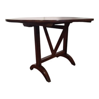 19th C. French Oval Walnut Tilt-Top Wine Tasting Table