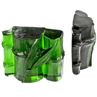 Blenko Green Glass Bamboo Bookends