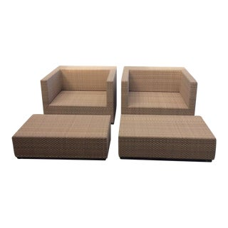 Dedon Lounge Armchairs With Footstools - A Pair