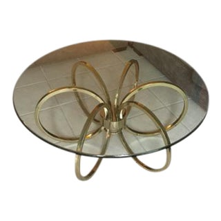 Vintage Brass Hoop Table With Thick Glass