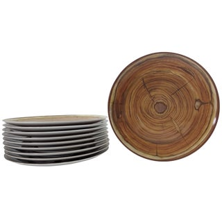 Faux Wood-Grained Plates - Set of 10