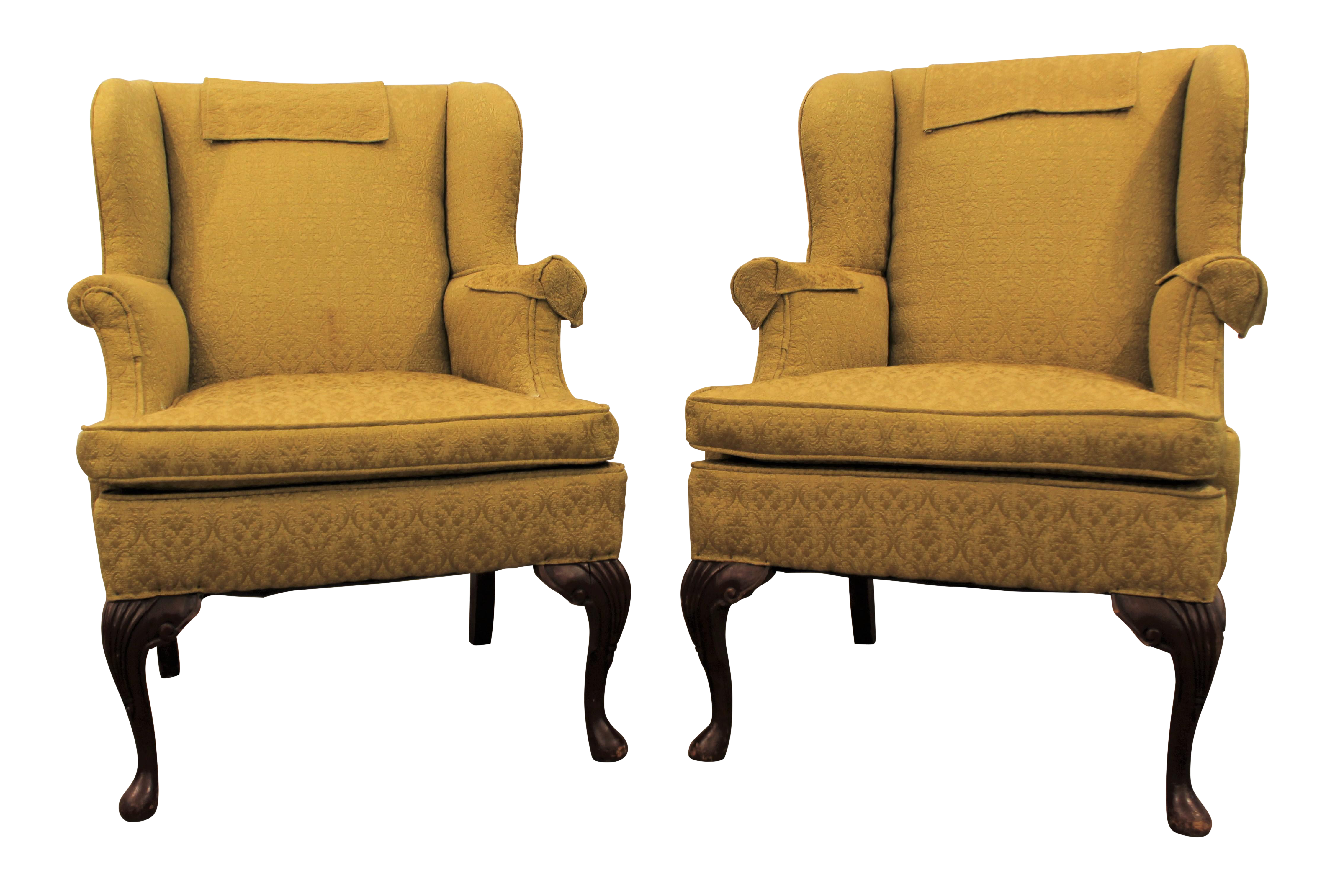 Queen Anne Fireside Wingback Chairs A Pair