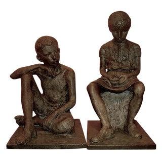 1930s Antique Life Size Children Sculptures in Bronze Finish