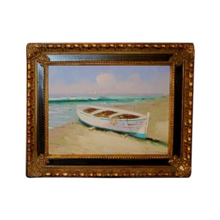 Painting of Fishing Boat on Shore