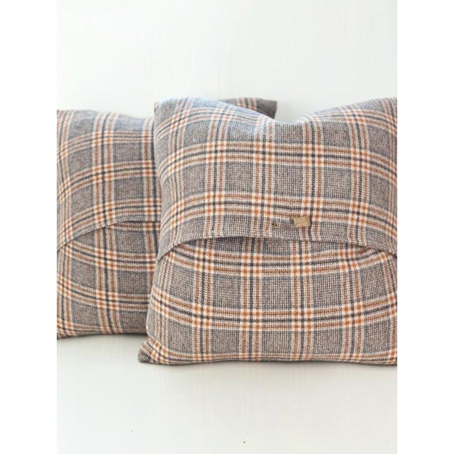 Neutral Tartan Harris Tweed Down Pillows - A Pair - Image 3 of 4