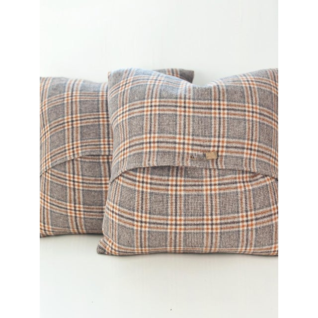 Image of Neutral Tartan Harris Tweed Down Pillows - A Pair