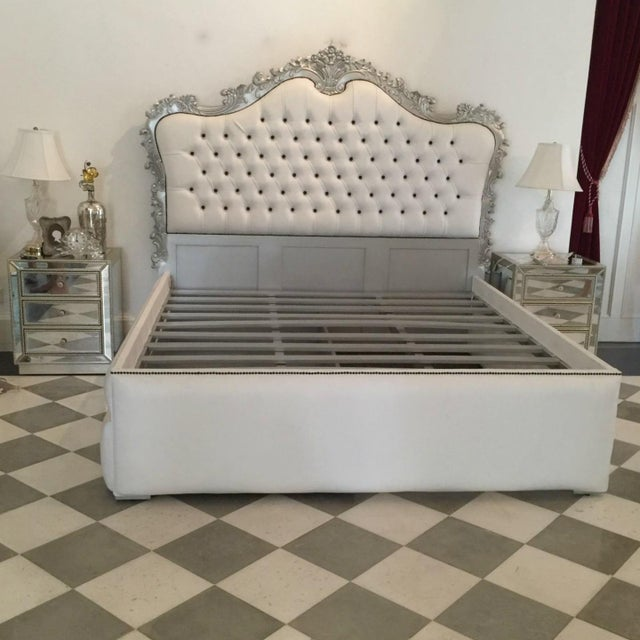 French upholstered bed king size rococo baroque style for Baroque style bed