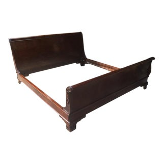 Solid Mahogany King Sized Sleigh Bed With Carved Detailing