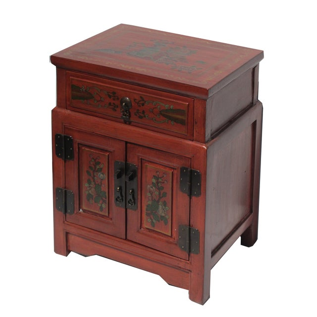Chinese Orange End Table W/Flower Vase Graphic - Image 3 of 5