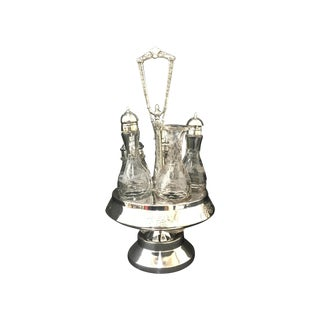 James Tufts Silver Plate Cruet Set With Bottles