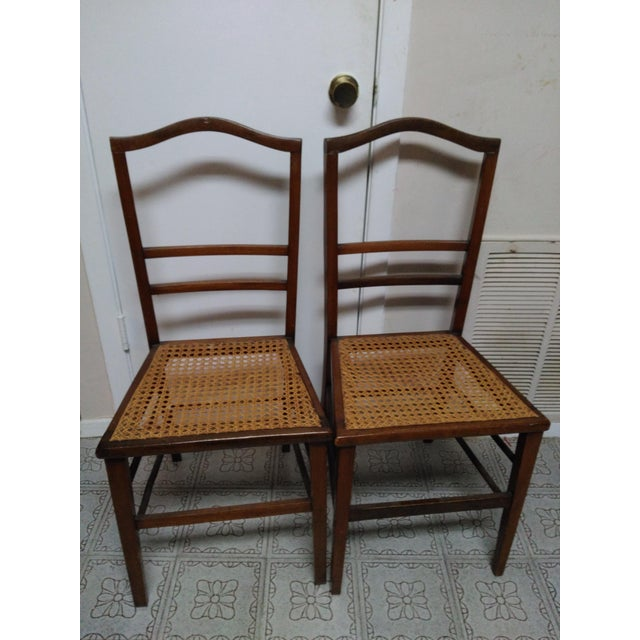 Cane Seat Wood Chairs - A Pair - Image 3 of 10