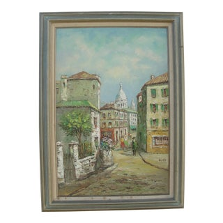 Vintage Impressionist Cityscape Oil Painting by Volga
