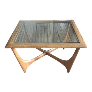 Lane Walnut Glass End Table