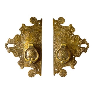 Vintage English Brass Bronze Cabinet Door Pulls, Made in England, 1920s - A Pair