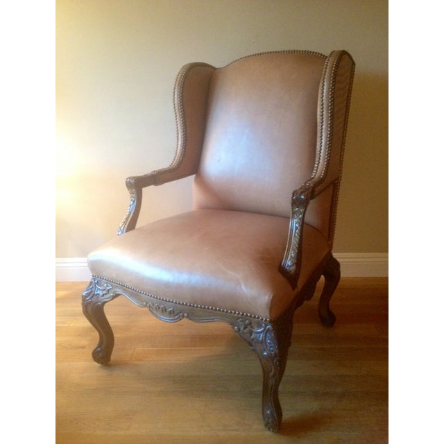 Image of Whittemore Sherrill Leather Crocodile Wing Chair