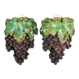 Plaster of Paris Grape Cluster Wall Pockets - A Pair