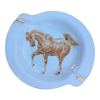 Vintage Milk Porcelain Equestrian Art Deco Ashtray