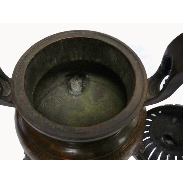 Chinese Bronze Foo Dogs Graphic Incense Burner - Image 5 of 7