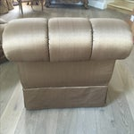 Image of Marge Carson Silk Armless Rollback Chairs - A Pair