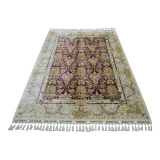 Antique Oushak Style Hand Knotted Silk Rug - 5′6″ × 7′11″