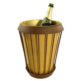 Vintage Wood and Aluminum Champagne Bucket