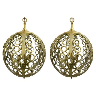 Pierced Brass Geometric Pendant Lights - A Pair