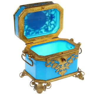 French Toilette Box in Blue Opaline