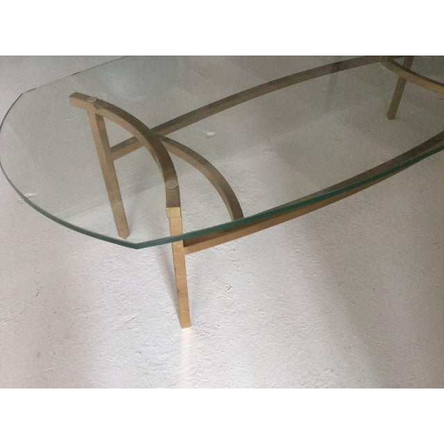Elegant Brass And Glass Coffee Table: Oval Brass And Glass Coffee Table