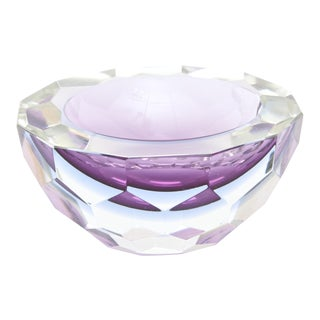 Italian Murano Diamond Faceted Geode Sommerso Glass Bowl
