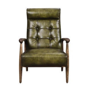 Green Leather & Oak Club Chair