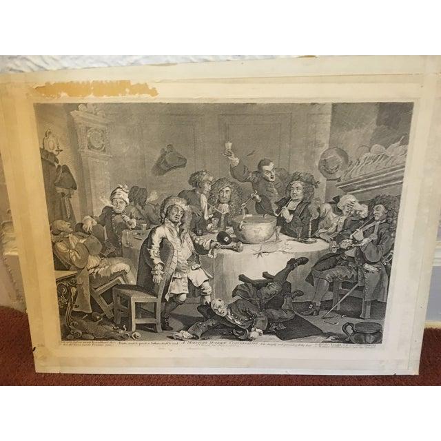 1804 Hogarth Etching Midnight Modern Conversation - Image 3 of 8