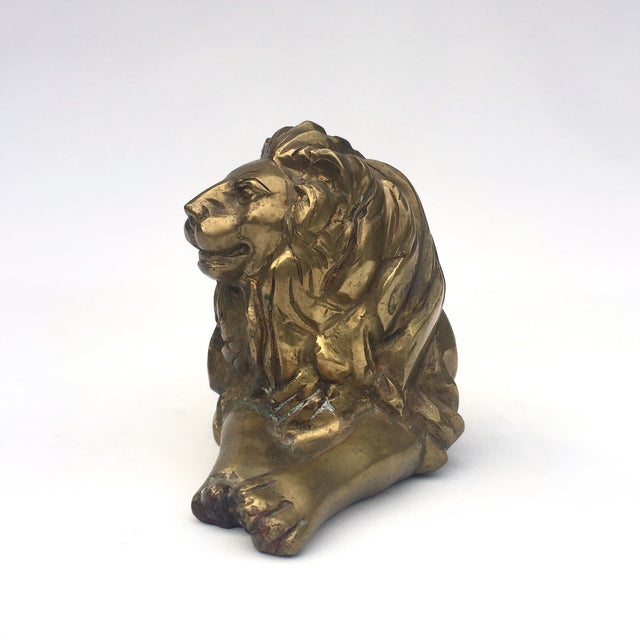 Image of Brass Lion Figurine in Repose