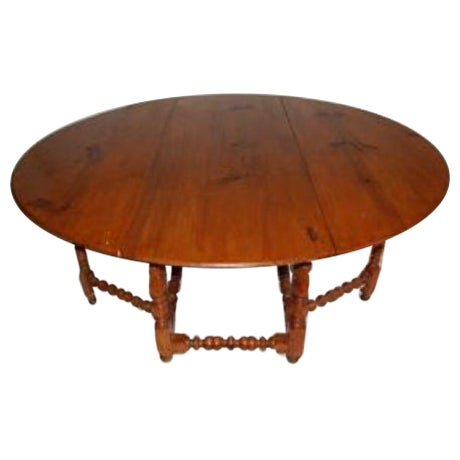Antique Drop Leaf Gate Round Dining Table - Image 1 of 4