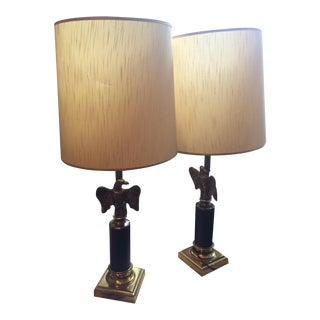 Vintage Federal Style Brass Eagle Lamps - Pair