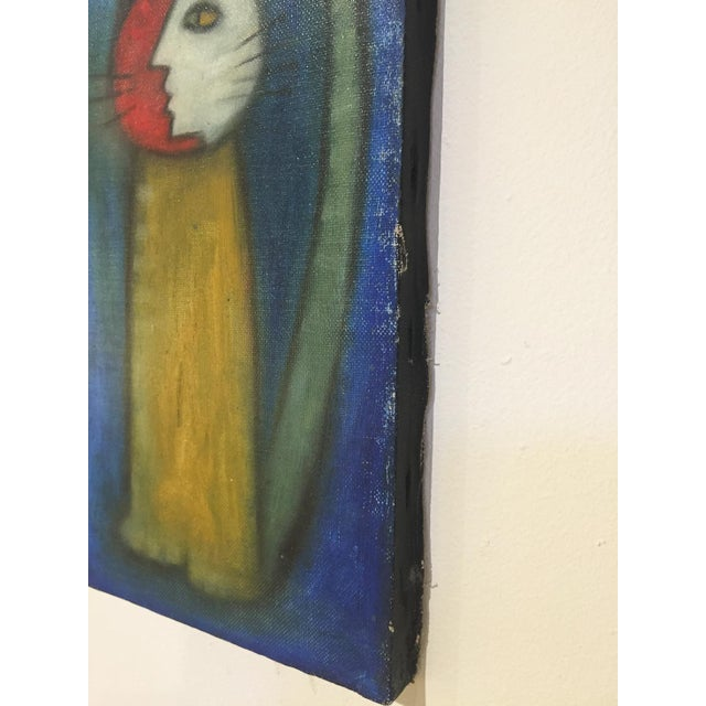 Image of Mid-Century Abstract Blue Cat Oil Painting