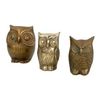 Brass Owl Figurines - Set of 3