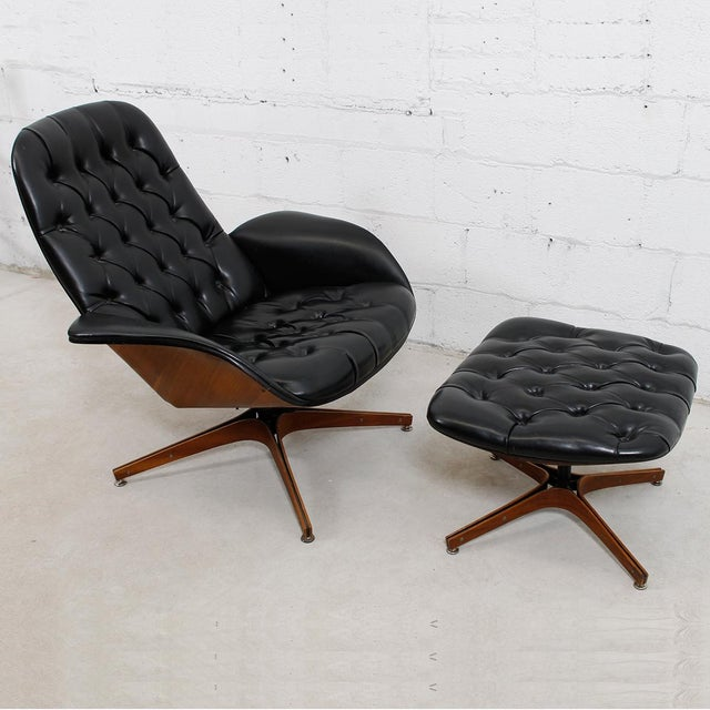 MCM Mulhauser Molded Wood Lounge Chair & Ottoman - Image 4 of 10