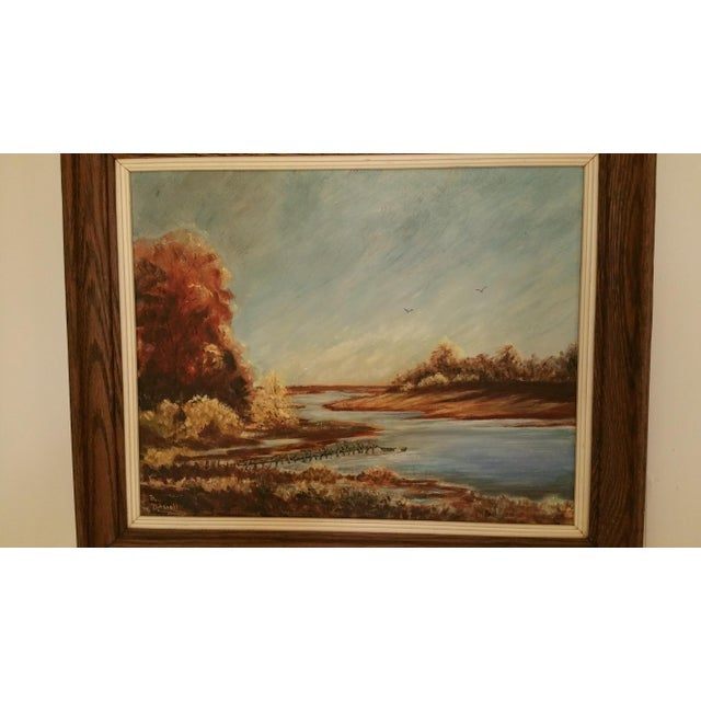 Image of Mid-Century Lake Champlain Landscape Oil Painting