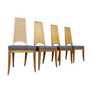 Caned Mid-Century Walnut Dining Chairs - Set of 4